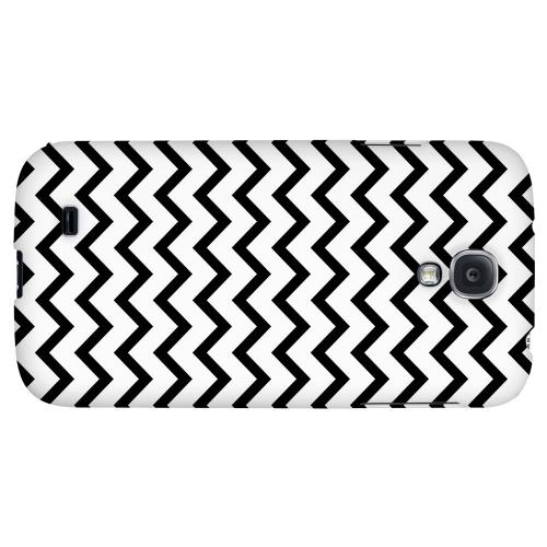 Black on White - Geeks Designer Line Zig Zag Series Hard Back Case for Samsung Galaxy S4
