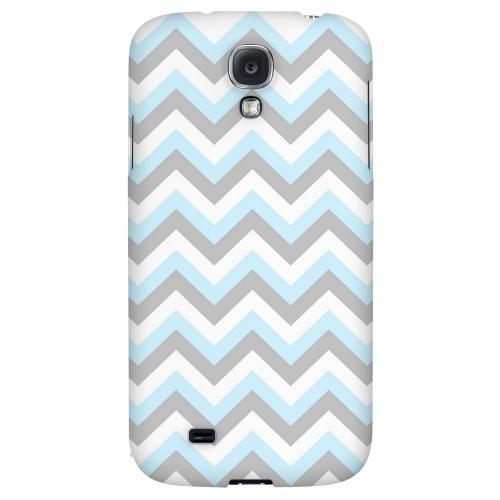 Blue on Gray on White - Geeks Designer Line Zig Zag Series Hard Back Case for Samsung Galaxy S4