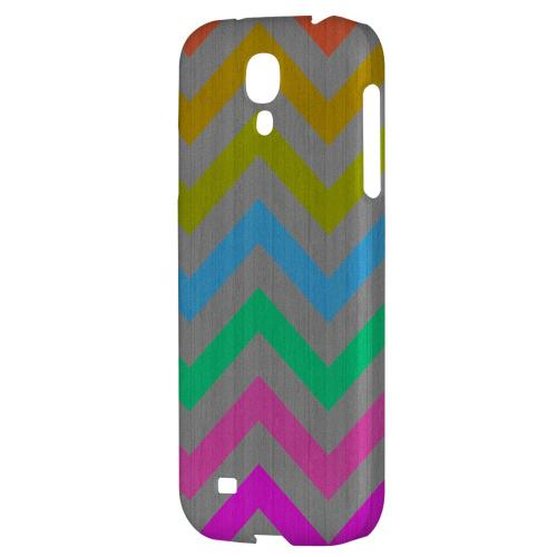 Grungy Multi-Colors on Gray - Geeks Designer Line Zig Zag Series Hard Back Case for Samsung Galaxy S4
