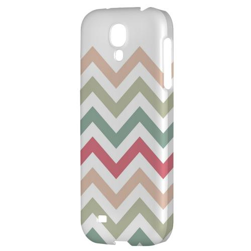 Green/ Red on White - Geeks Designer Line Zig Zag Series Hard Back Case for Samsung Galaxy S4