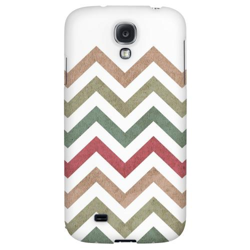 Grungy Green/ Red on White - Geeks Designer Line Zig Zag Series Hard Back Case for Samsung Galaxy S4