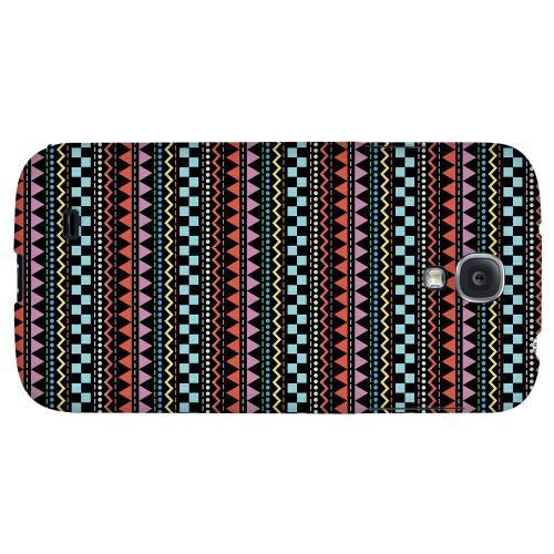 Multi-Shapes & Colors on Black - Geeks Designer Line Zig Zag Series Hard Back Case for Samsung Galaxy S4