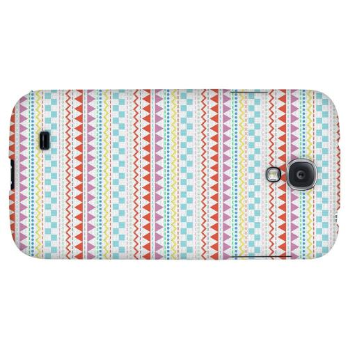 Multi-Shapes & Colors on White - Geeks Designer Line Zig Zag Series Hard Back Case for Samsung Galaxy S4