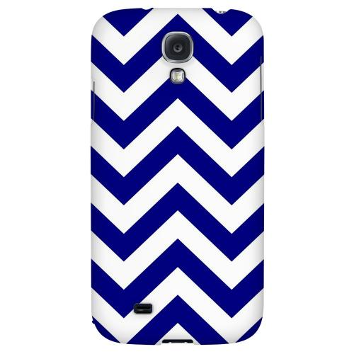 Navy Blue on White - Geeks Designer Line Zig Zag Series Hard Back Case for Samsung Galaxy S4