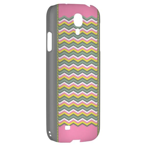 Green/ Yellow Dots w/ Pink & Gray - Geeks Designer Line Zig Zag Series Hard Back Case for Samsung Galaxy S4