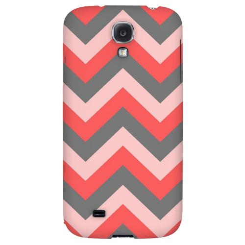 Red on Gray on Pink - Geeks Designer Line Zig Zag Series Hard Back Case for Samsung Galaxy S4