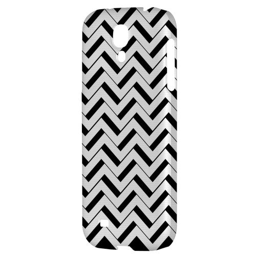 Black/ White 3D - Geeks Designer Line Zig Zag Series Hard Back Case for Samsung Galaxy S4