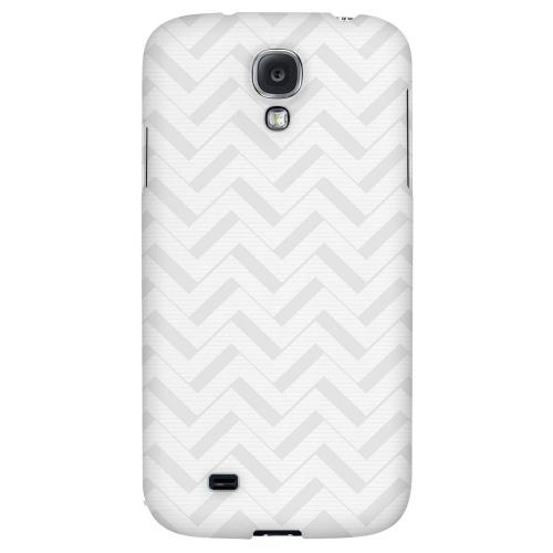 Light Gray/ White 3D - Geeks Designer Line Zig Zag Series Hard Back Case for Samsung Galaxy S4