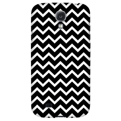 White on Black - Geeks Designer Line Zig Zag Series Hard Back Case for Samsung Galaxy S4