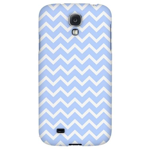 White on Light Blue - Geeks Designer Line Zig Zag Series Hard Back Case for Samsung Galaxy S4