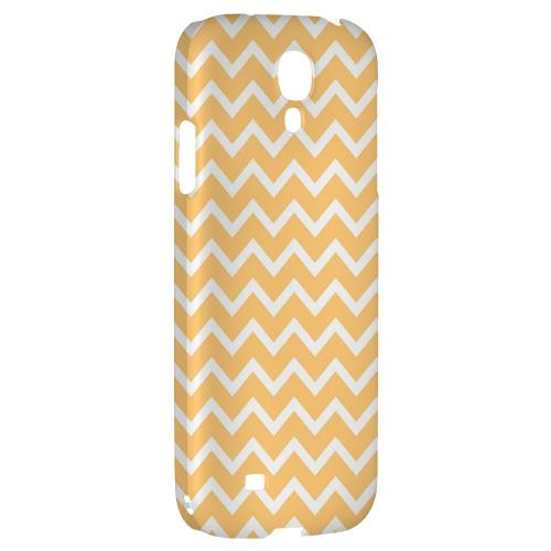 White on Light Orange - Geeks Designer Line Zig Zag Series Hard Back Case for Samsung Galaxy S4