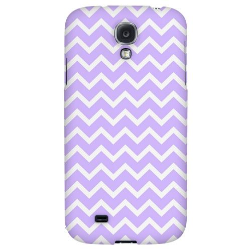 White on Light Purple - Geeks Designer Line Zig Zag Series Hard Back Case for Samsung Galaxy S4