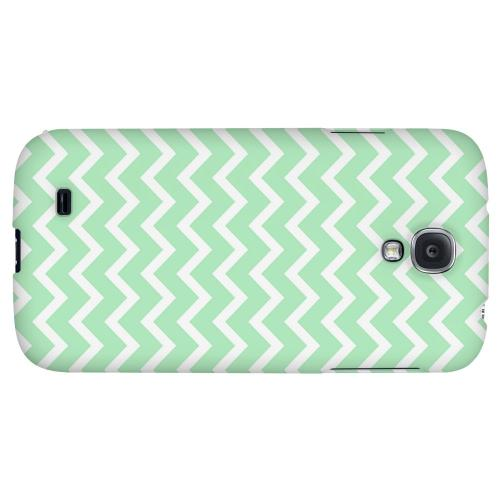 White on Mint - Geeks Designer Line Zig Zag Series Hard Back Case for Samsung Galaxy S4