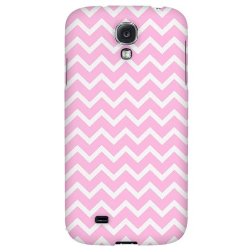 White on Pink - Geeks Designer Line Zig Zag Series Hard Back Case for Samsung Galaxy S4