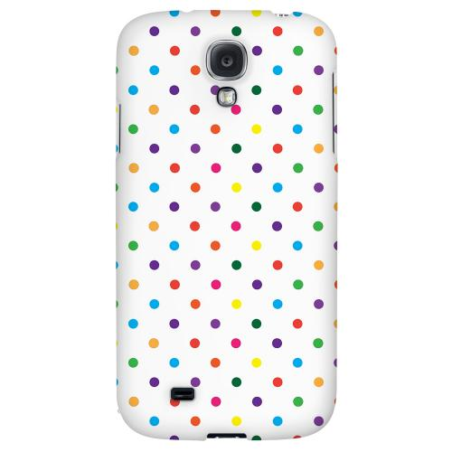 Small & Rainbow on White - Geeks Designer Line Polka Dot Series Hard Back Case for Samsung Galaxy S4