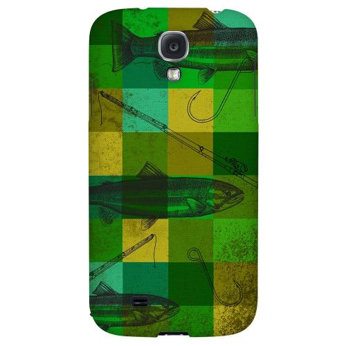 Green Plaid Trout Design - Geeks Designer Line Fish Series Hard Back Case for Samsung Galaxy S4
