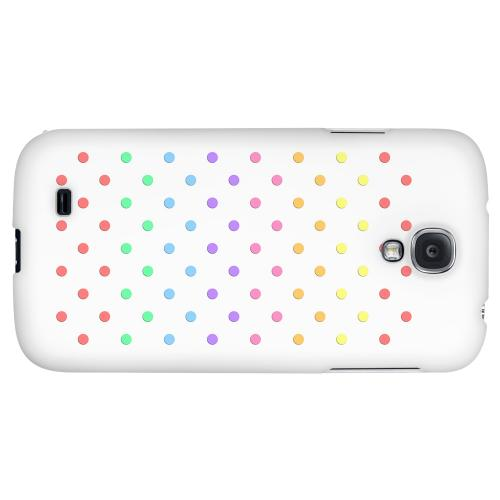 Rainbow Dots on White - Geeks Designer Line Polka Dot Series Hard Back Case for Samsung Galaxy S4