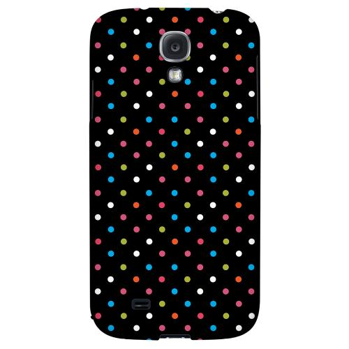 Retro Rainbow Dots on Black - Geeks Designer Line Polka Dot Series Hard Back Case for Samsung Galaxy S4