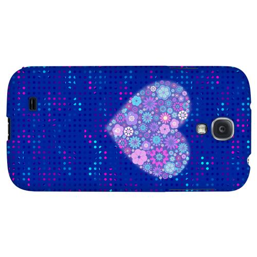 Shimmer Blue Dots & Heart - Geeks Designer Line Polka Dot Series Hard Back Case for Samsung Galaxy S4