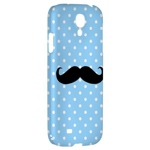 Stache on Sky Blue - Geeks Designer Line Polka Dot Series Hard Back Case for Samsung Galaxy S4
