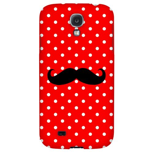 Stache on Red - Geeks Designer Line Polka Dot Series Hard Back Case for Samsung Galaxy S4