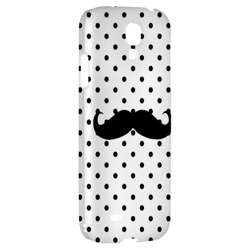 Stache on White - Geeks Designer Line Polka Dot Series Hard Back Case for Samsung Galaxy S4