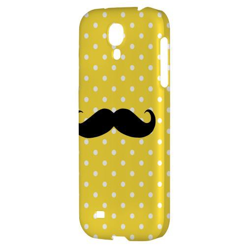 Stache on Yellow - Geeks Designer Line Polka Dot Series Hard Back Case for Samsung Galaxy S4