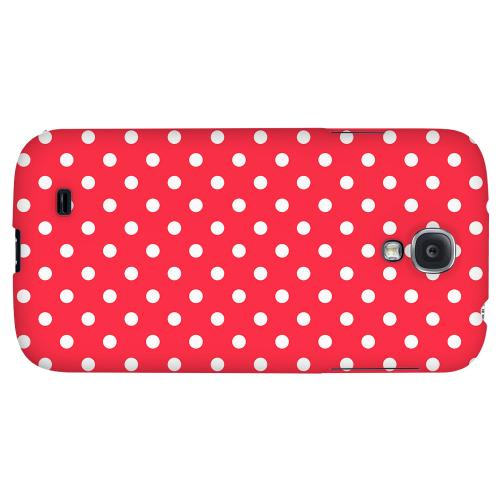 White Dots on Red - Geeks Designer Line Polka Dot Series Hard Back Case for Samsung Galaxy S4