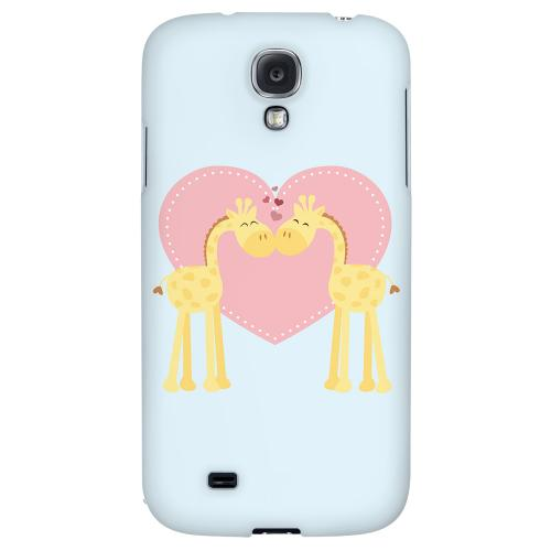 Giraffe Love on Baby Blue - Geeks Designer Line Heart Series Hard Back Case for Samsung Galaxy S4