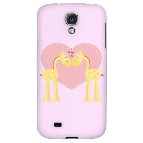 Giraffe Love on Baby Pink - Geeks Designer Line Heart Series Hard Back Case for Samsung Galaxy S4