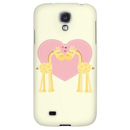 Giraffe Love on Light Yellow - Geeks Designer Line Heart Series Hard Back Case for Samsung Galaxy S4