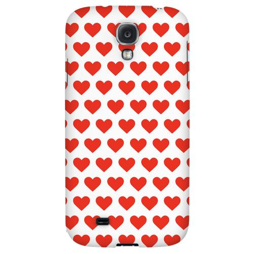 Red Hearts on White - Geeks Designer Line Heart Series Hard Back Case for Samsung Galaxy S4