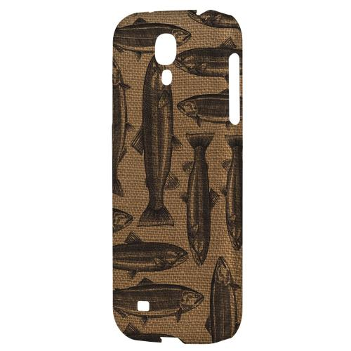 Vintage Salmon & Trout on Burlap - Geeks Designer Line Fish Series Hard Back Case for Samsung Galaxy S4