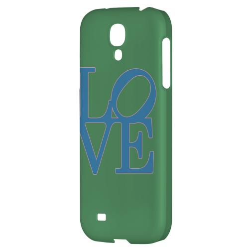 Blue Love on Green - Geeks Designer Line Heart Series Hard Back Case for Samsung Galaxy S4