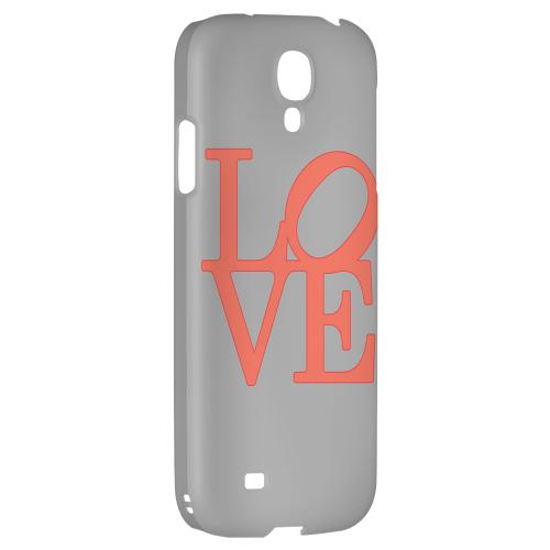 Pink Love on Gray - Geeks Designer Line Heart Series Hard Back Case for Samsung Galaxy S4
