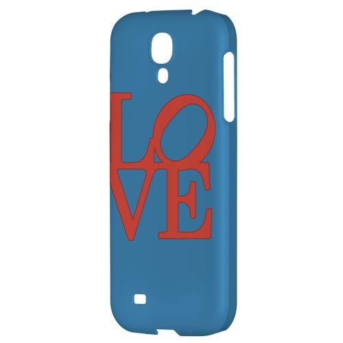 Red Love on Blue - Geeks Designer Line Heart Series Hard Back Case for Samsung Galaxy S4