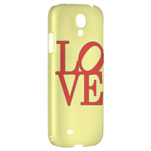 Red Love on Yellow - Geeks Designer Line Heart Series Hard Back Case for Samsung Galaxy S4