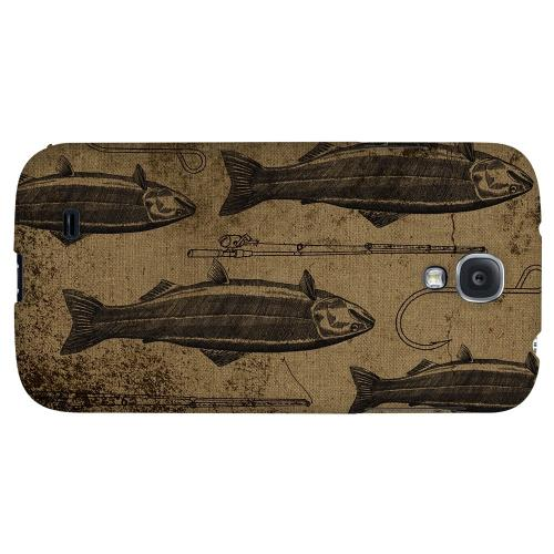 Vintage Salmon/Hook/Pole Print - Geeks Designer Line Fish Series Hard Back Case for Samsung Galaxy S4