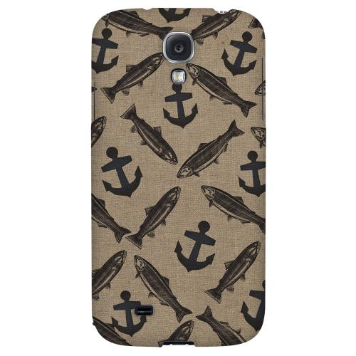 Vintage Salmon-trout-anchor Design - Geeks Designer Line Fish Series Hard Back Case for Samsung Galaxy S4