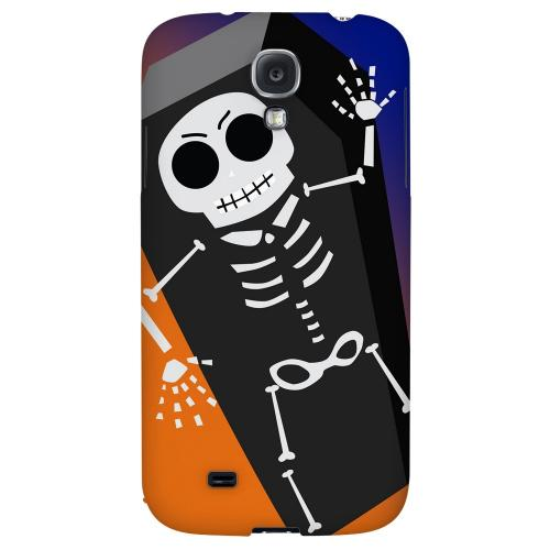 Dancing Skeleton on Black-orange-purple - Geeks Designer Line Monster Mash Series Hard Back Case for Samsung Galaxy S4