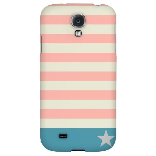 Bars & Stripes Forever on Pink/ Teal - Geeks Designer Line Stripe Series Hard Back Case for Samsung Galaxy S4