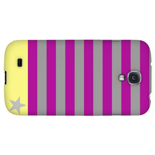 Bars & Stripes Forever on Purple/ Yellow - Geeks Designer Line Stripe Series Hard Back Case for Samsung Galaxy S4