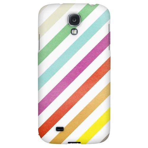 Dirty Diagonal Multi-Color - Geeks Designer Line Stripe Series Hard Back Case for Samsung Galaxy S4