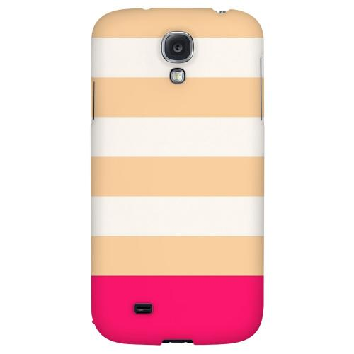 Pink Candy Stripes w/ Pink Bar - Geeks Designer Line Stripe Series Hard Back Case for Samsung Galaxy S4