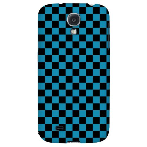 Aqua Blue/ Black - Geeks Designer Line Checker Series Hard Back Case for Samsung Galaxy S4