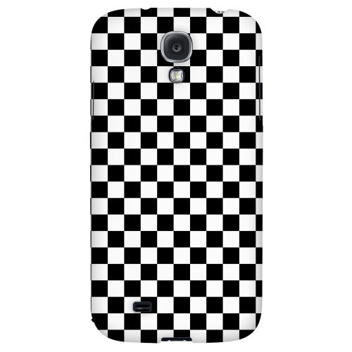 Black/ White - Geeks Designer Line Checker Series Hard Back Case for Samsung Galaxy S4
