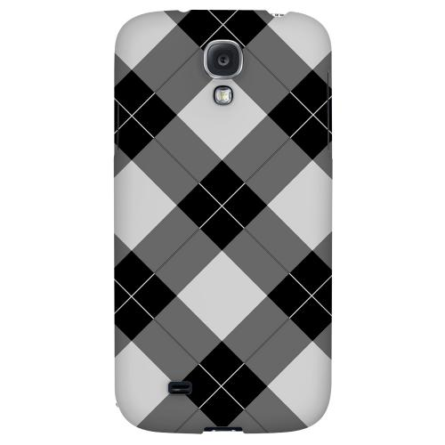 Black/ White/ Gray Plaid - Geeks Designer Line Checker Series Hard Back Case for Samsung Galaxy S4