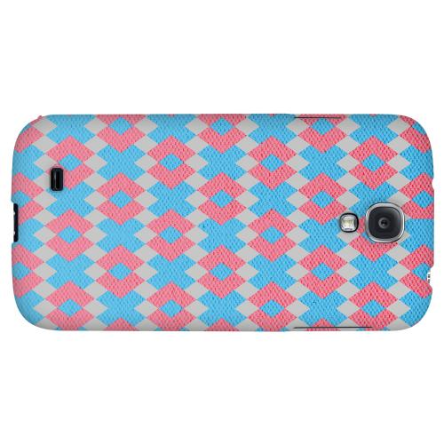 Blue/ Pink Embroidery - Geeks Designer Line Checker Series Hard Back Case for Samsung Galaxy S4