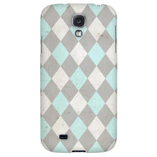Grunge Pink/ Blue/ Gray Argyle - Geeks Designer Line Checker Series Hard Back Case for Samsung Galaxy S4