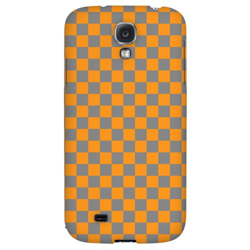 Orange/ Gray - Geeks Designer Line Checker Series Hard Back Case for Samsung Galaxy S4